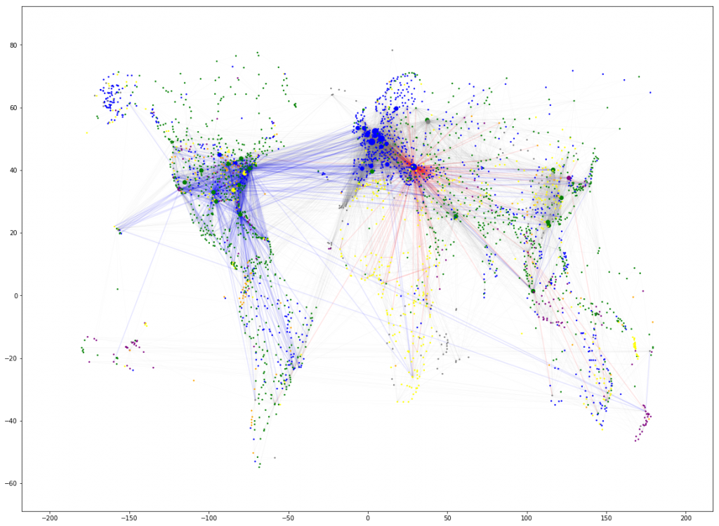 US airlines, Turkish Airlines flights map